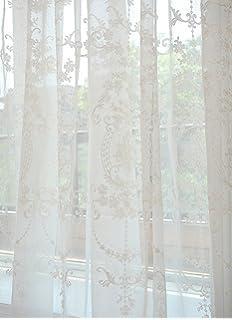 GWELL Elegant Supersanft Weiss Transparent Voile Vorhang Gardine Schal Mit Sen TOP QUALITT 1er Pack