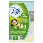 Puffs Plus Lotion Facial Tissue, 4 Family Boxes, 124 Tissues per Box