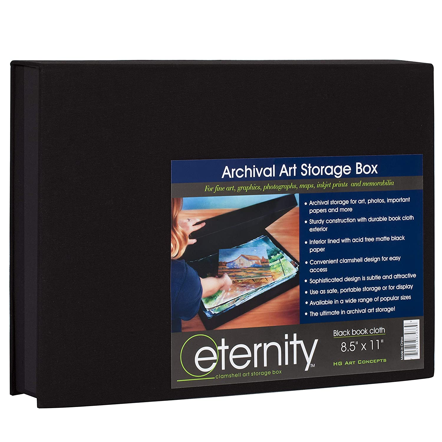 HG Concepts Art Photo Storage Box Eternity Archival Clamshell Box for Storing Artwork Black - 8.5 x 11 Photos /& Documents Deluxe Acid-Free Sturdy /& Lined with Archival Paper
