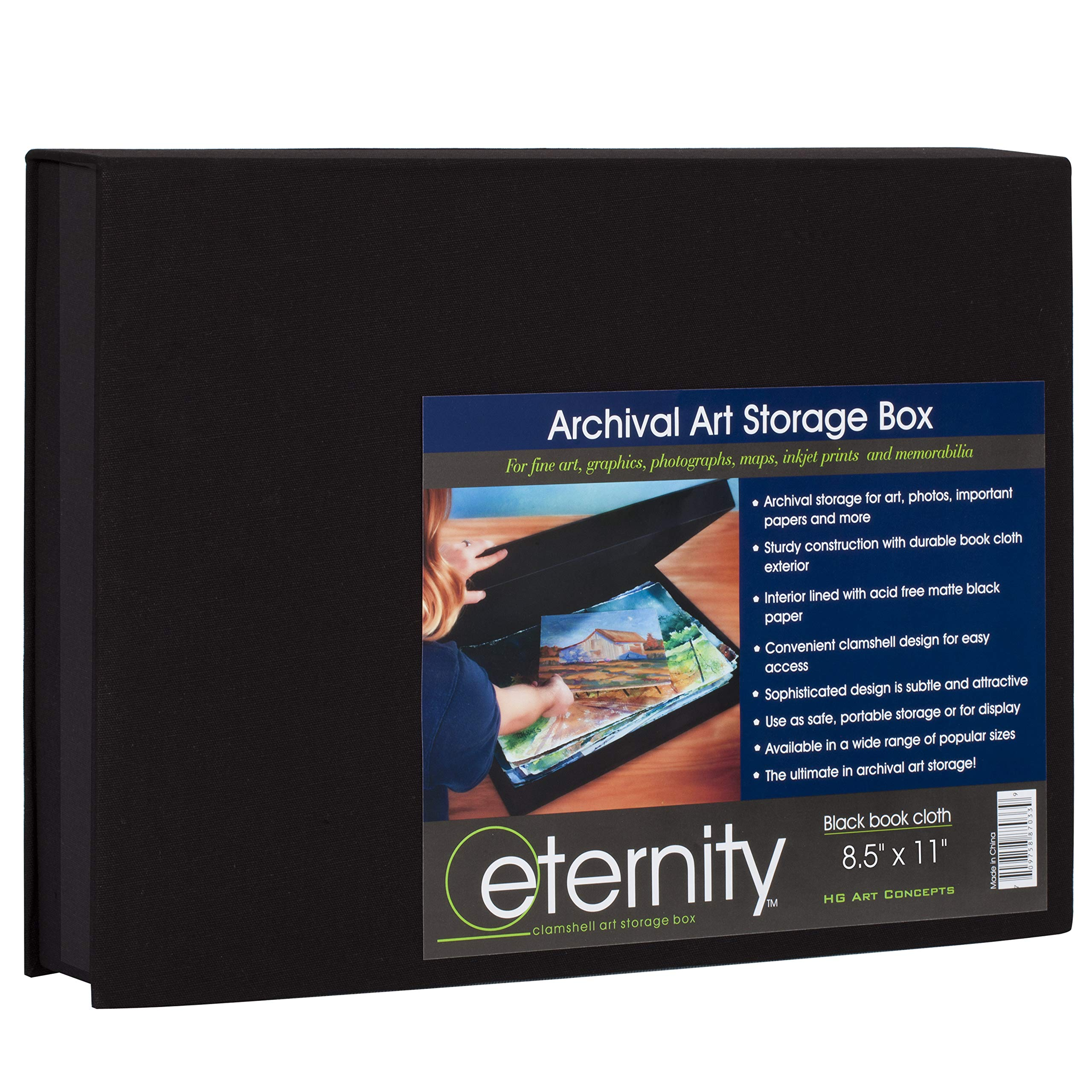 HG Concepts Art Photo Storage Box Eternity Archival Clamshell Box for Storing Artwork, Photos & Documents Deluxe Acid-Free Sturdy & Lined with Archival Paper - [Black - 8.5'' x 11'']