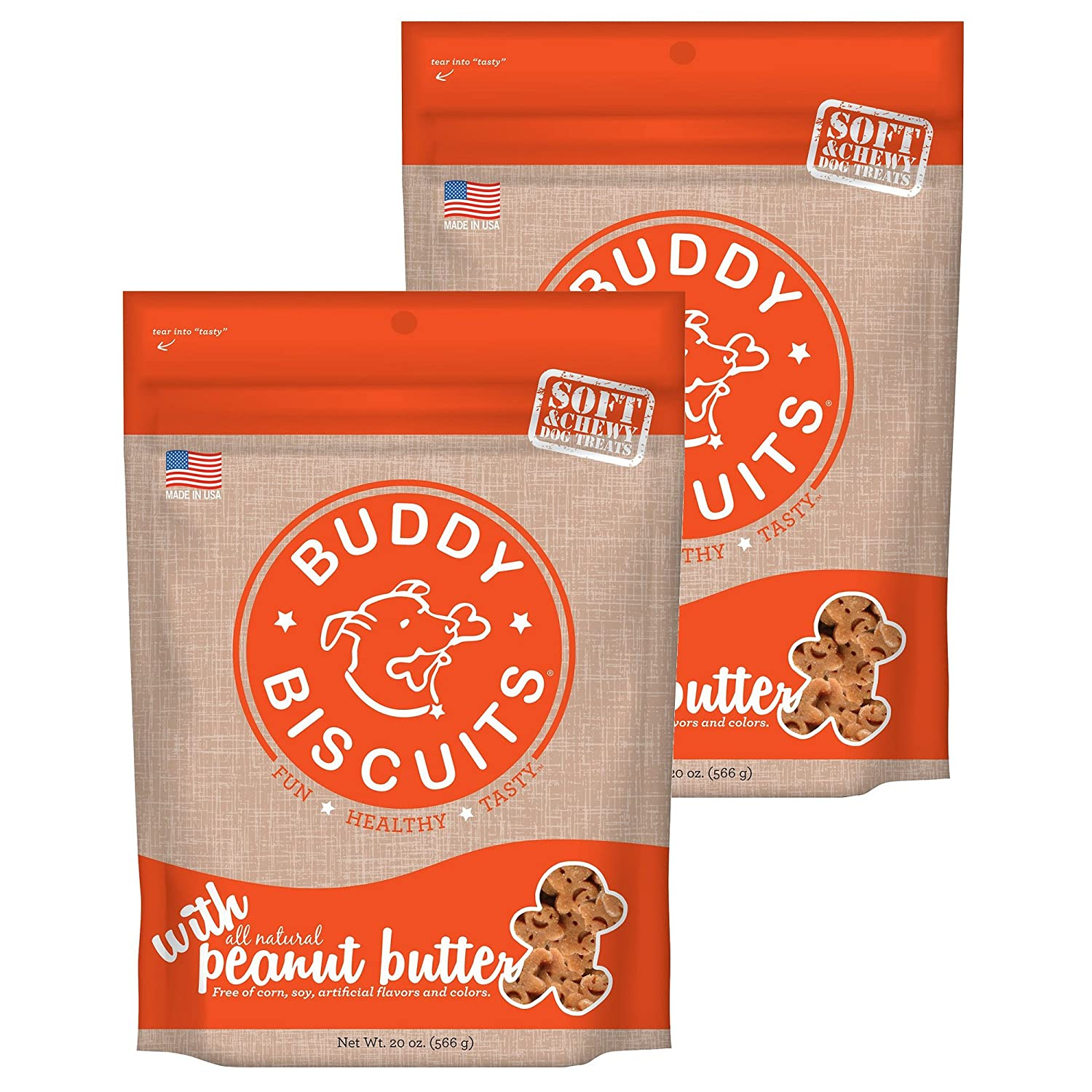Buddy Biscuits Soft Chewy All-Natural Oven Baked Treats – 6 or 20 oz