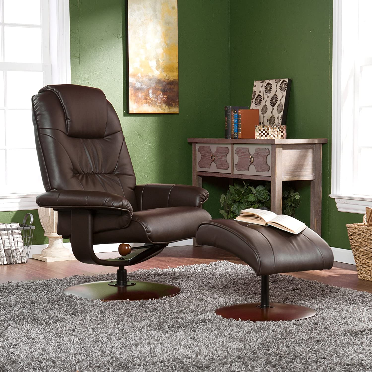 Amazon Bonded Leather Recliner and Ottoman Brown Kitchen