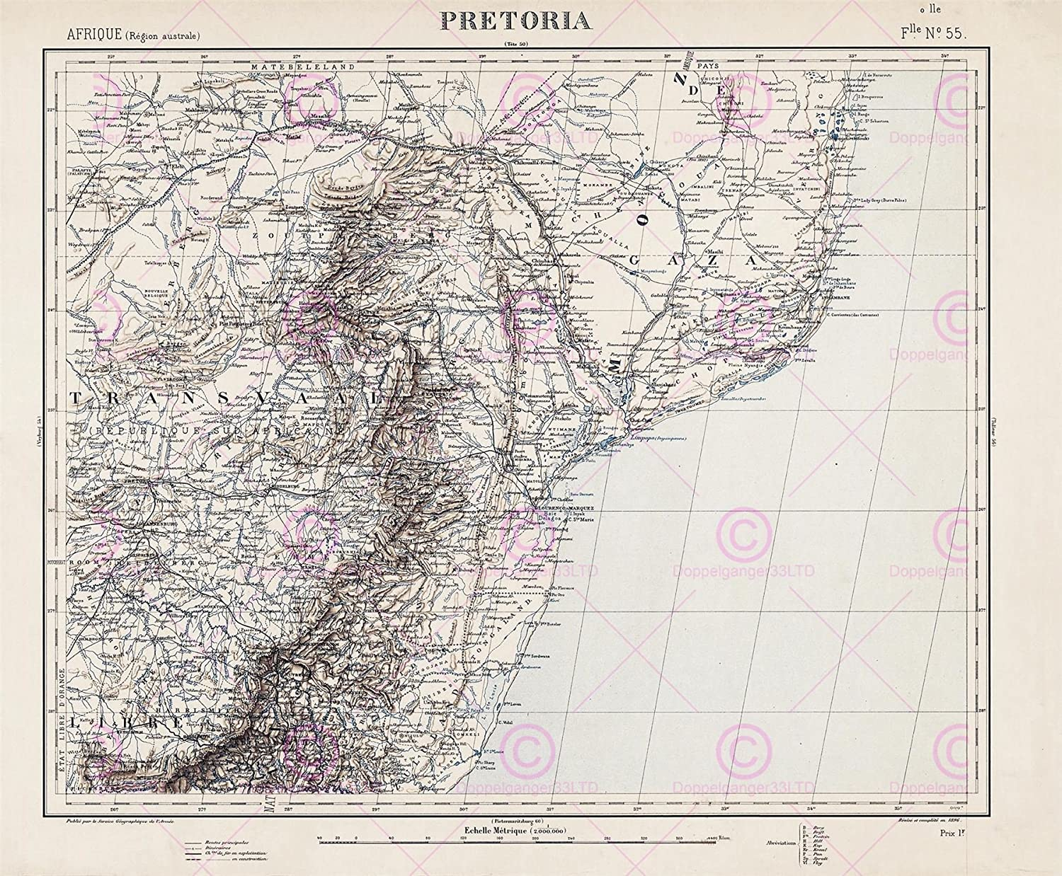 Map Pretoria South Africa.Amazon Com Map Antique 1896 Bissy Pretoria South Africa
