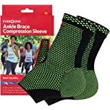 EverOne Ankle Brace Compression Support Sleeve For Injury Prevention, Healing and Recovery, Unisex, 1 Pair (2 pcs…
