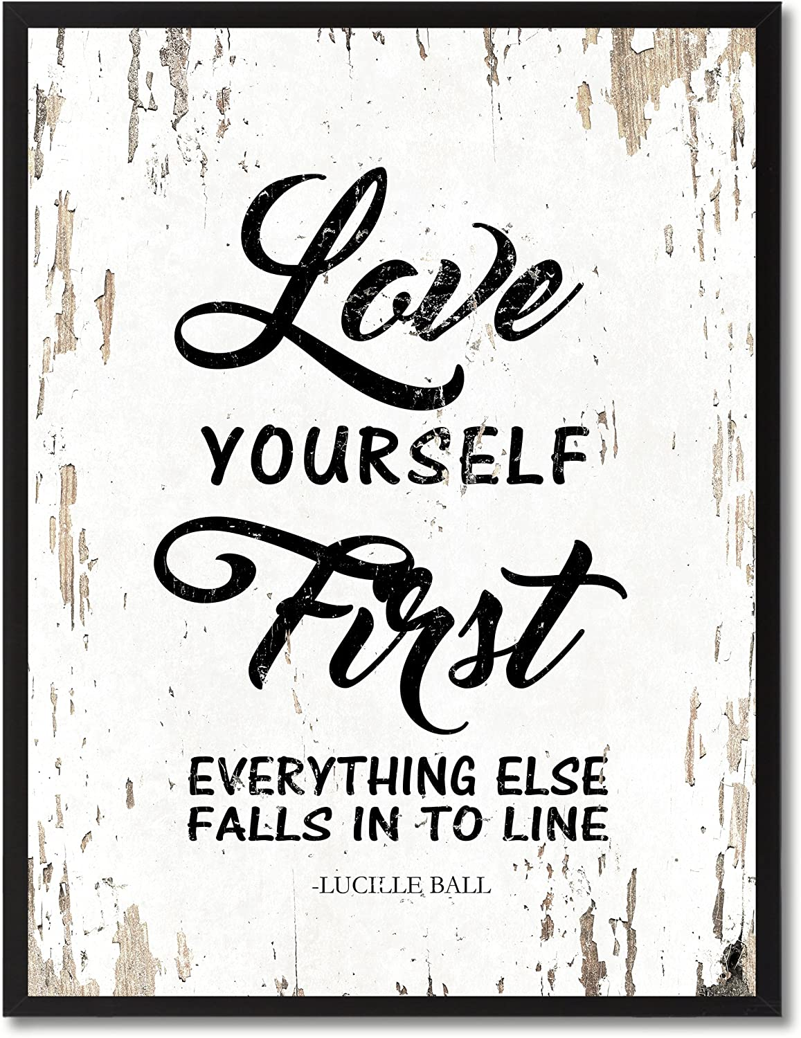Amazoncom SpotColorArt Love Yourself First Everything Falls Into Line  Framed Canvas Art 7 x 9 White Posters  Prints