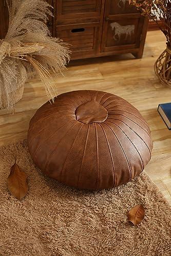 RISEON Boho Handmade Faux Leather Moroccan Pouf Footstool Ottoman Leather Poufs Unstuffed 25.6″ x 9.84″