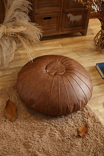 RISEON Boho Handmade Faux Leather Moroccan Pouf Footstool Ottoman Leather Poufs Unstuffed 25.6 x 9.84 -Round Floor Cushion Footstool for Living Room, Bedroom and Under Desk Tan