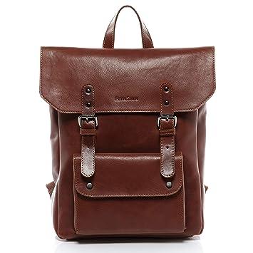 0be65c3049dc4 FEYNSINN Rucksack dünn Leder Phoenix Backpack Tagesrucksack Stadtrucksack  Unisex 14 Zoll Laptop Lederrucksack Damen Herren braun
