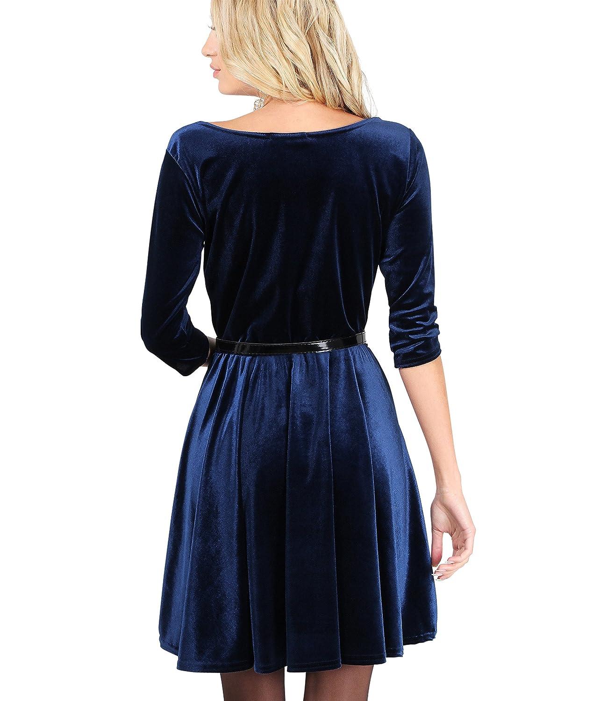 Vestido Corto Vuelo Terciopelo[Azul Marino, L]: Amazon.es: Ropa y accesorios