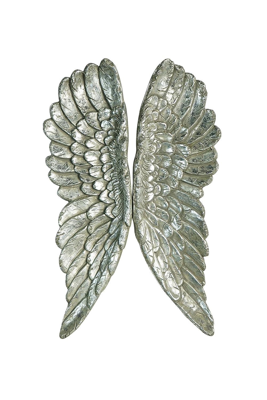 Kobolo Engelsflügel Handbemalt Silberfarben als Wanddekoration Paar Zum Aufhängen