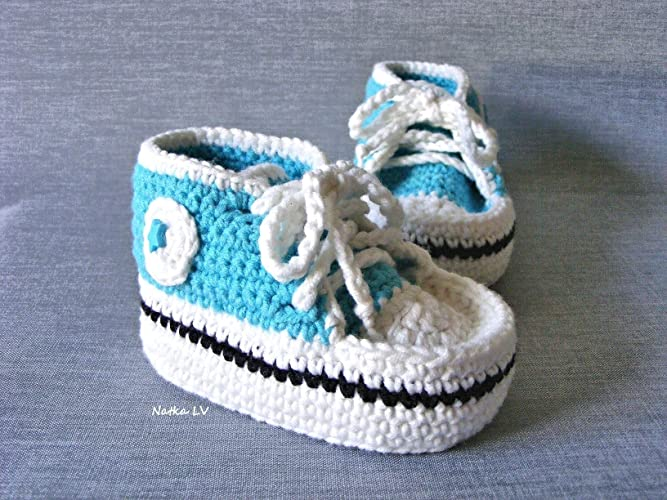 Amazoncom Baby Light Blue Booties Crochet Baby Boy Summer Booties
