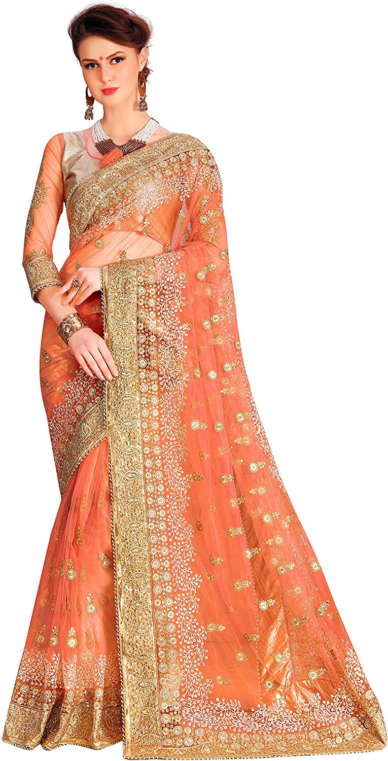 Nivah Fashion Women's Net Embroidery Work with Heavy Saree with Unstitched Blouse Piece