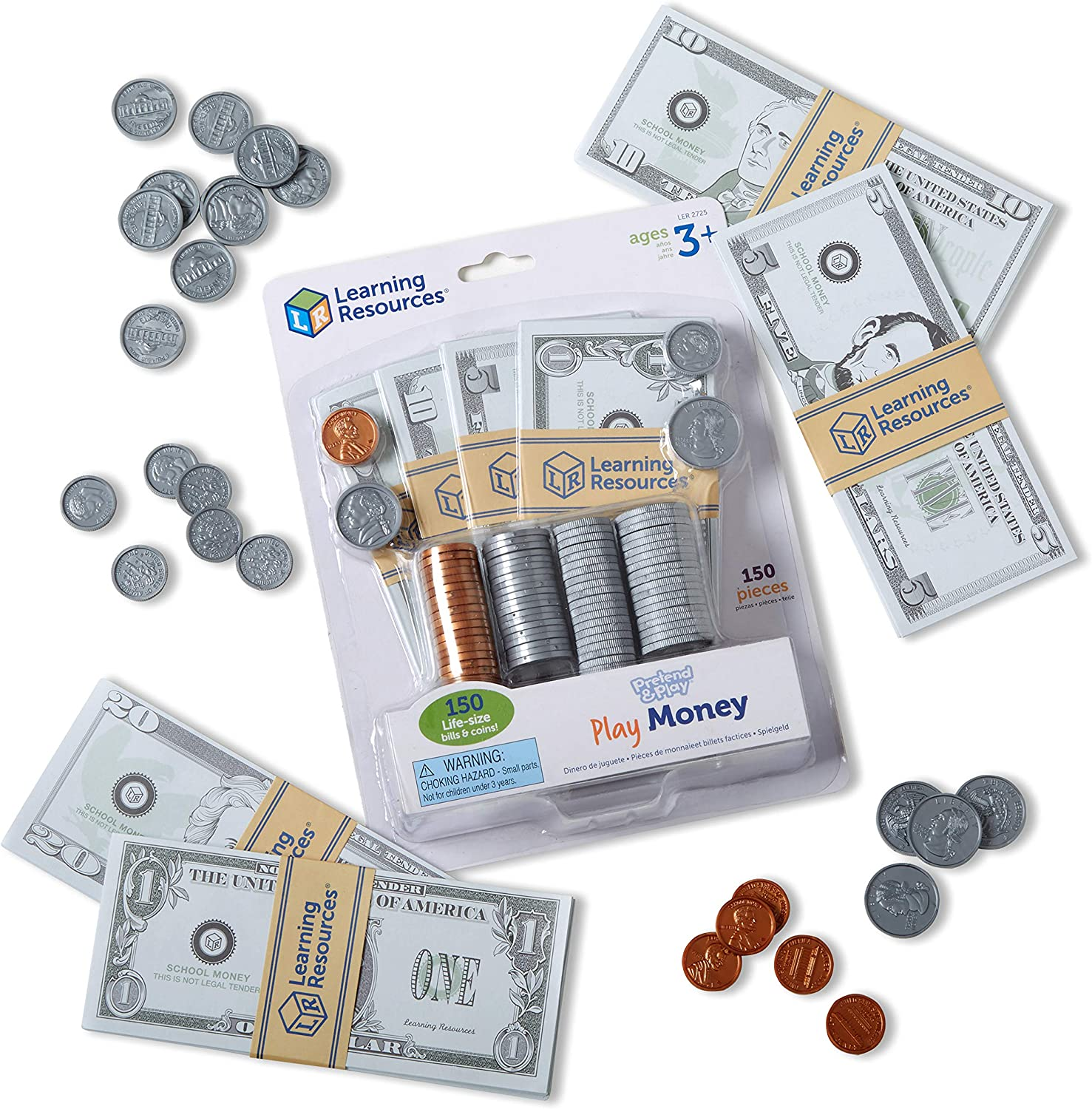 Learning Resources Pretend and Play, Play Money for Kids, Counting, Math, Currency, 150 Pieces, Easter Gifts for Kids, Ages 3+