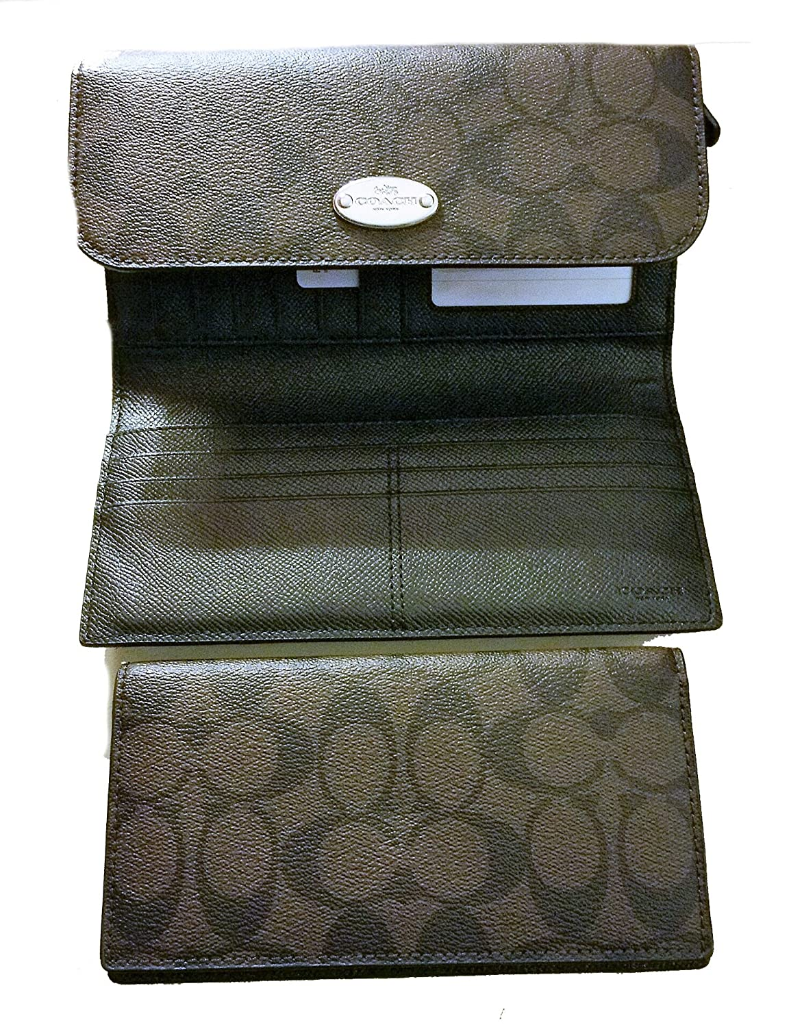 98bdf30cd2679 Coach Signature PVC Coated Canvas Checkbook Wallet F52681 Dark Brown   Amazon.co.uk  Shoes   Bags