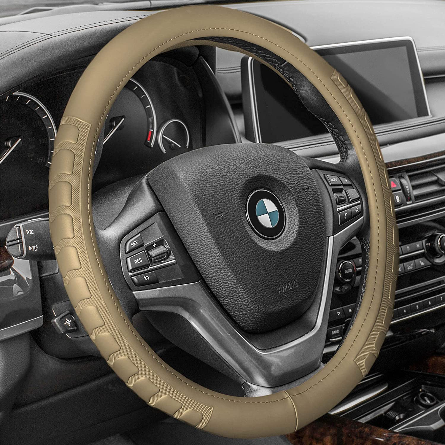 FH Group FH2002GRAYBLACK Steering Wheel Cover Deluxe Full Grain Authentic Leather Gray//Black