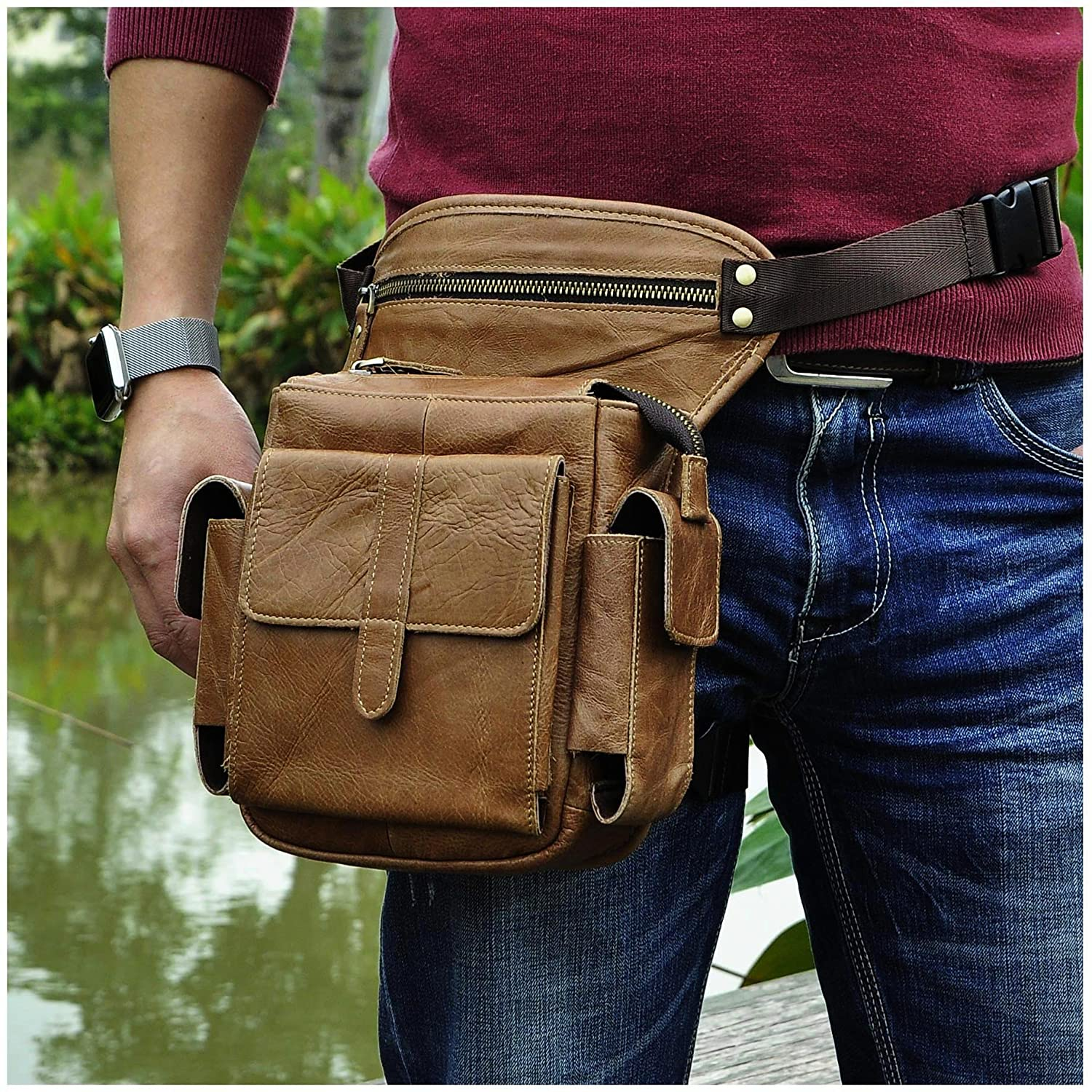 Le'aokuu Mens Genuine Leather Bike Cycling Waist Hip Bum Fanny Pack Drop Leg Bag (Dark Brown)