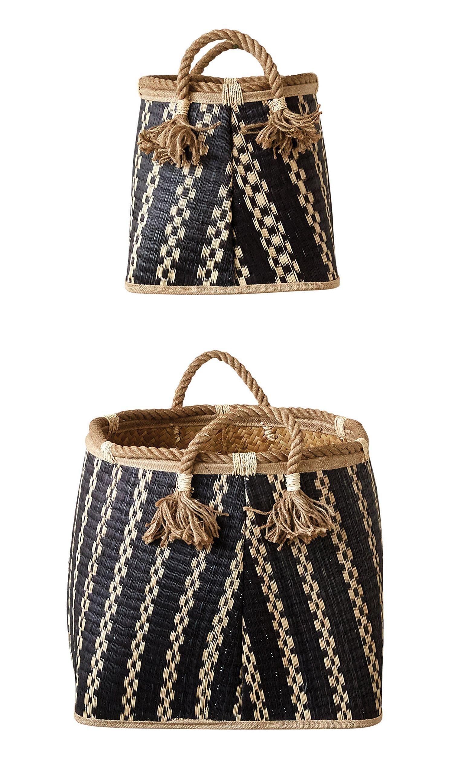 Creative Co-op Wicker Basket Set with Rope Handles
