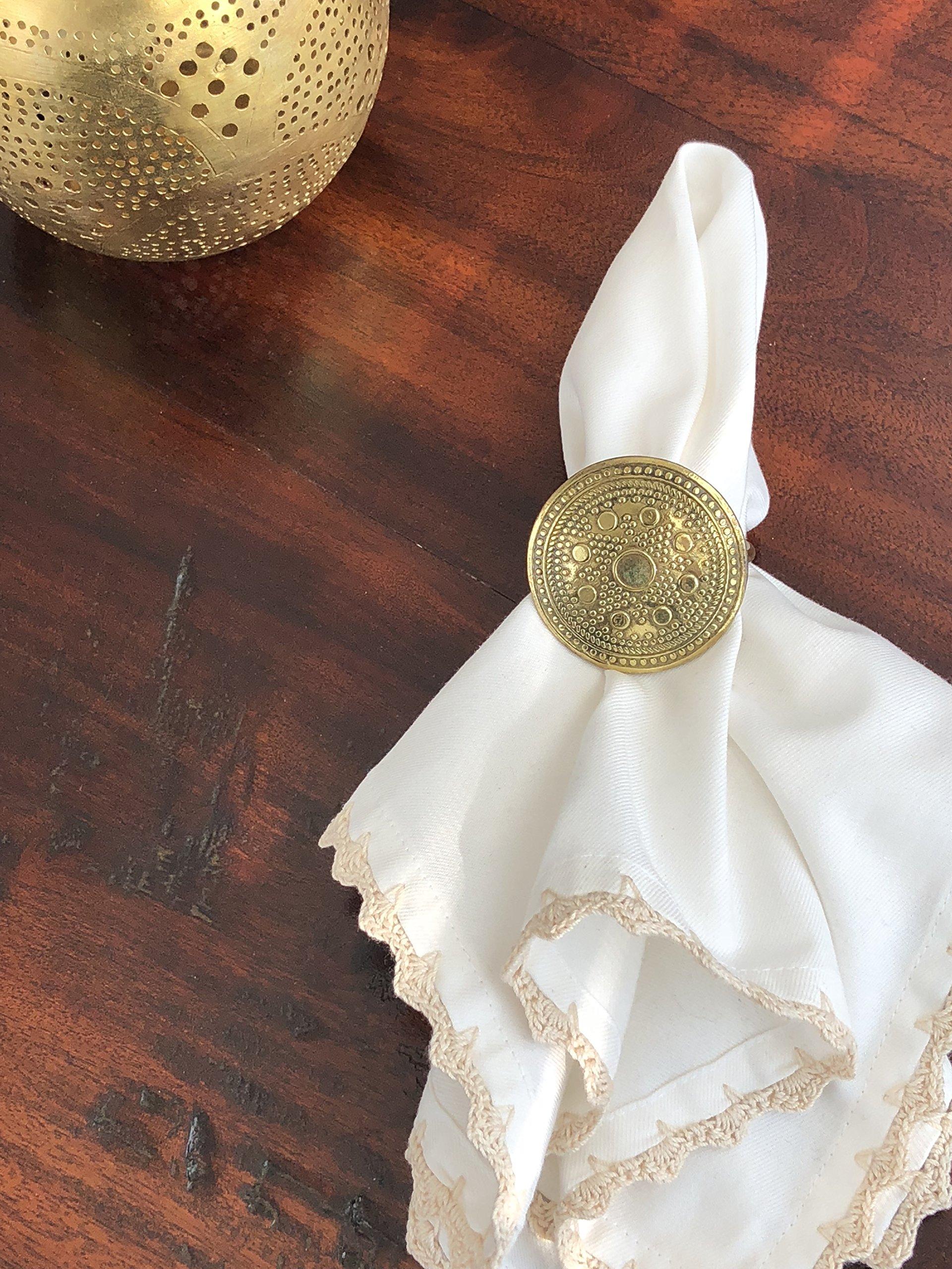 MoLi 100% Egyptian Cotton Cloth Dinner Napkins Hand Crocheted - Set of 6 Pack Lunch Linen - Elegant Decorative Fabric Handmade Table Linens - Servilletas de Tela Wedding Napkin (White) by MoLi (Image #6)