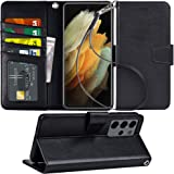 Arae Case for Samsung Galaxy S21 Ultra Wallet Case Flip Cover with Card Holder and Wrist Strap for Samsung Galaxy S21 Ultra,