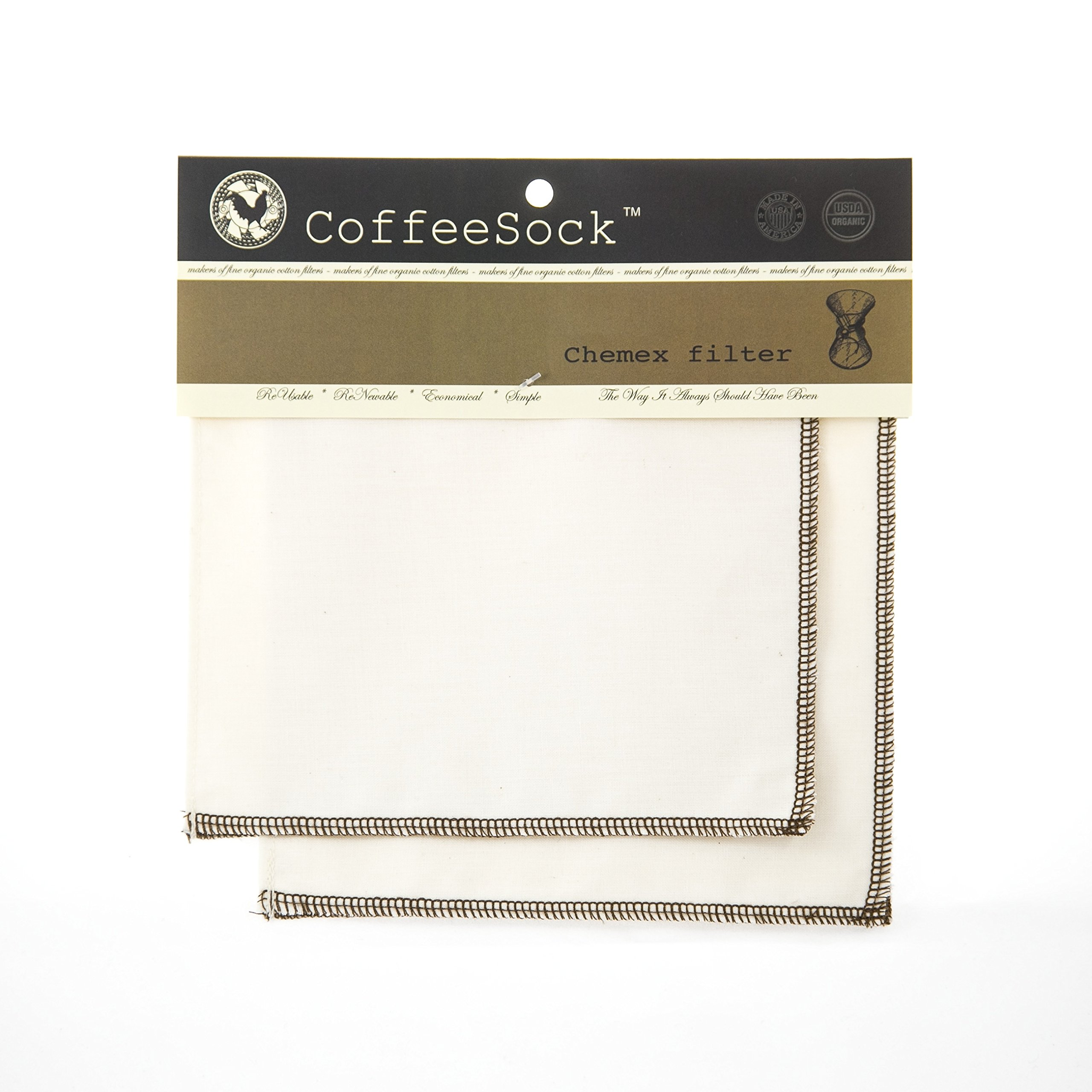 CoffeeSock Reusable Filters Made to Fit Chemex 6-13 Cup Carafes - GOTS Certified Organic Cotton Reusable Coffee Filters
