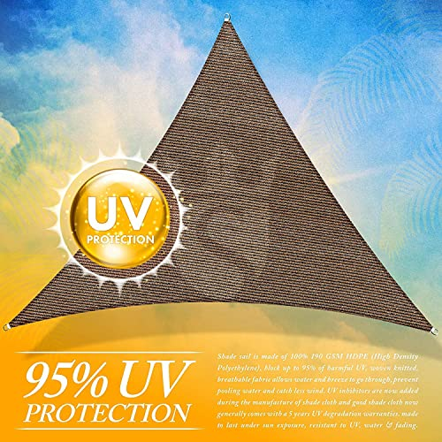 Royal Shade Custom Size Order to Make Sun Shade Sail Canopy Mesh Fabric UV Block Triangle – Commercial Standard Heavy Duty – 200 GSM – 5 Years Warranty Right Triangle 17 x 22 x 27.8 , Brown