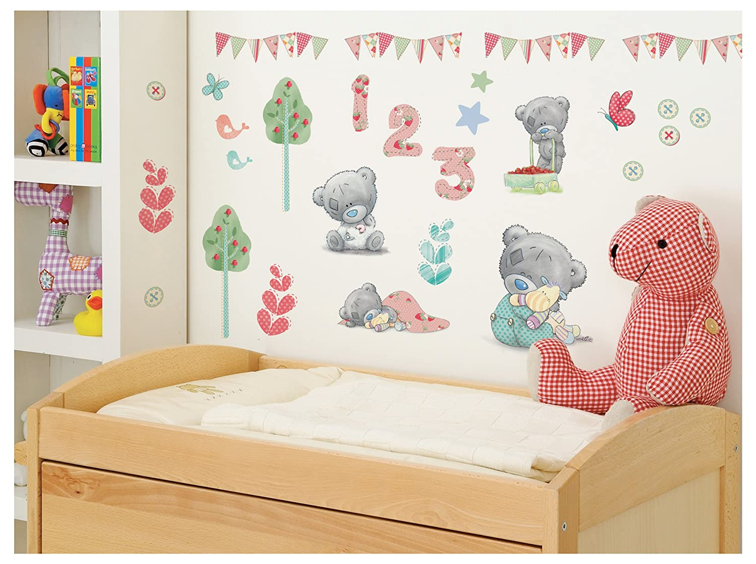 Amazon funtosee teddy bear nursery wall decals pastel baby amipublicfo Images