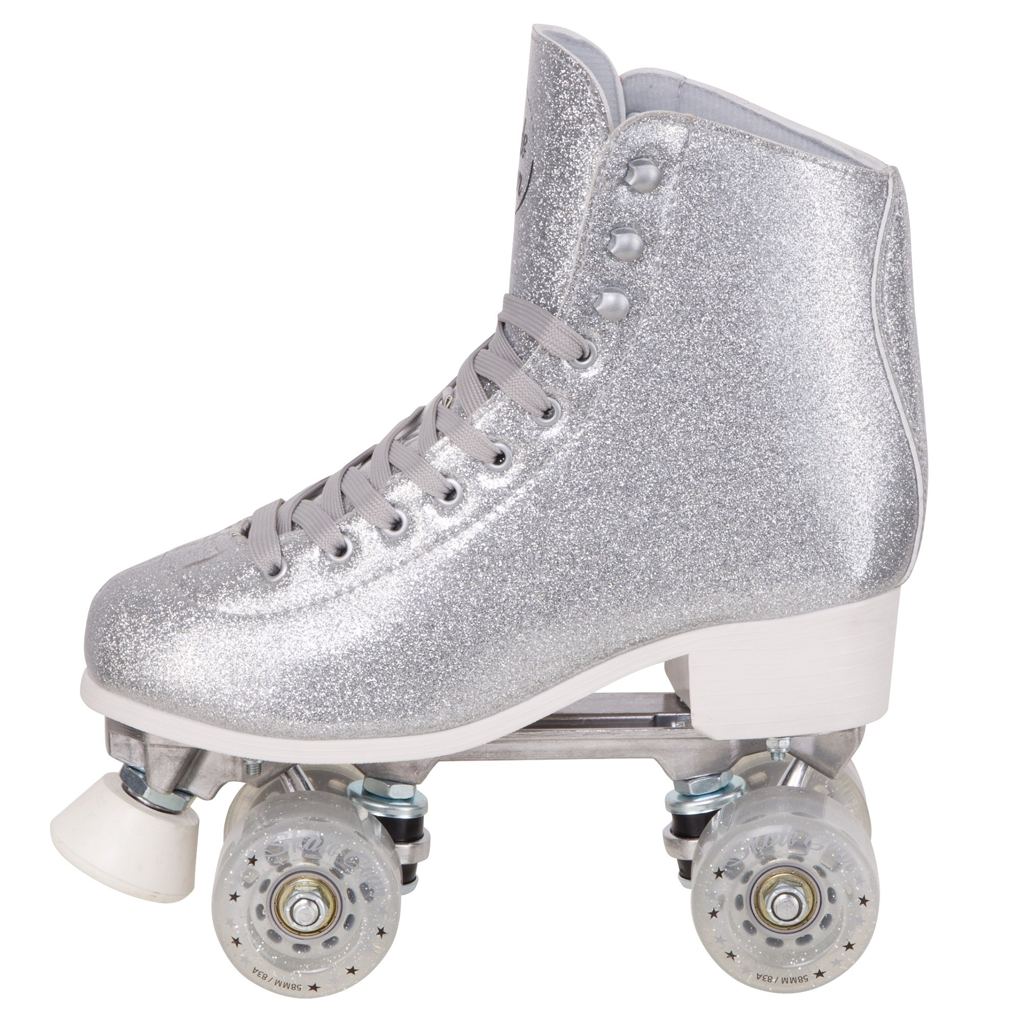 Cal 7 Sparkly Roller Skates for Indoor & Outdoor Skating, Faux Leather Quad Skate with Ankle Support & 83A PU Wheels for Kids & Adults (Silver, Youth 6 / Men's 6 / Women's 7)