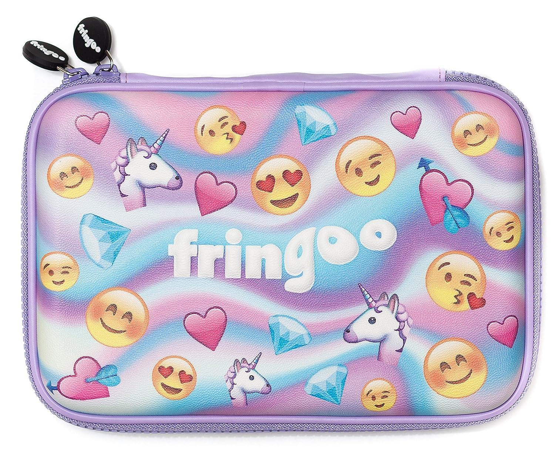 Plumier Fringoo® para niñas y niños, cubierta dura y bonita en relieve, organizador grande con varios compartimentos, color Emoji World Holo - Hardtop ...