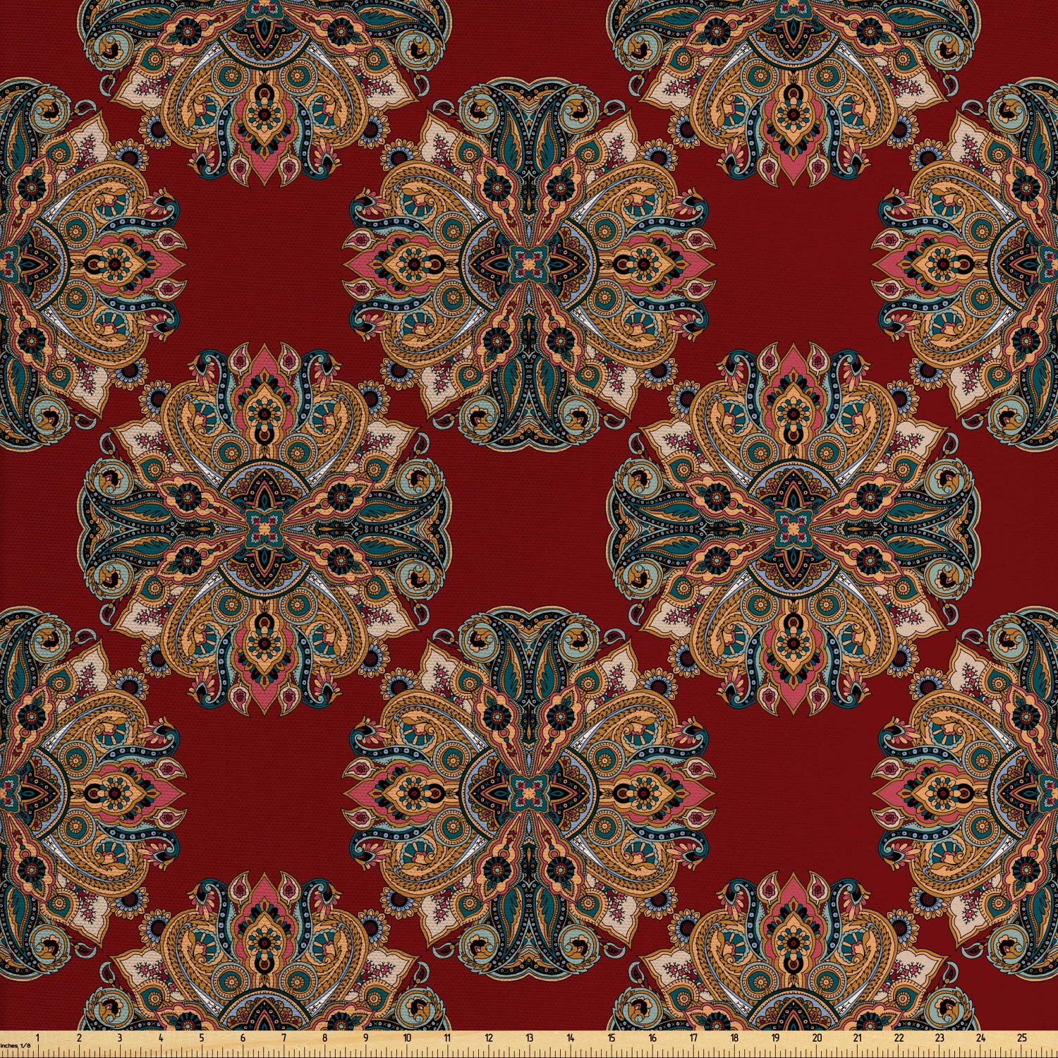 Lunarable Maroon Fabric by The Yard, Oriental Traditional Paisley Pattern Mandala Inspired Round Authentic Boho Folk Hues, Decorative Fabric for Upholstery and Home Accents,10 Yards, Multicolor