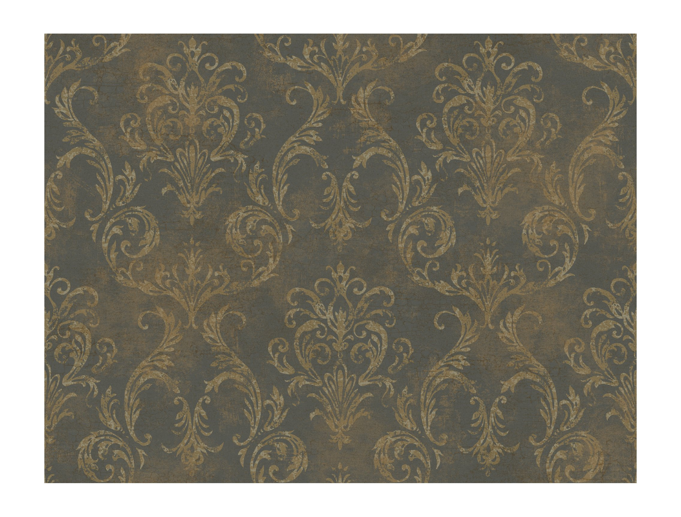 York Wallcoverings GL4657 Brandywine Delia Damask Wallpaper, Deep Pearled Platinum/Bronze/Cool Tan by York Wallcoverings