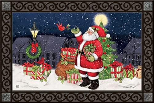 Studio M MatMates Hometown Santa Winter Christmas Decorative Floor Mat Indoor or Outdoor Doormat with Eco-Friendly Recycled Rubber Backing, 18 x 30 Inches
