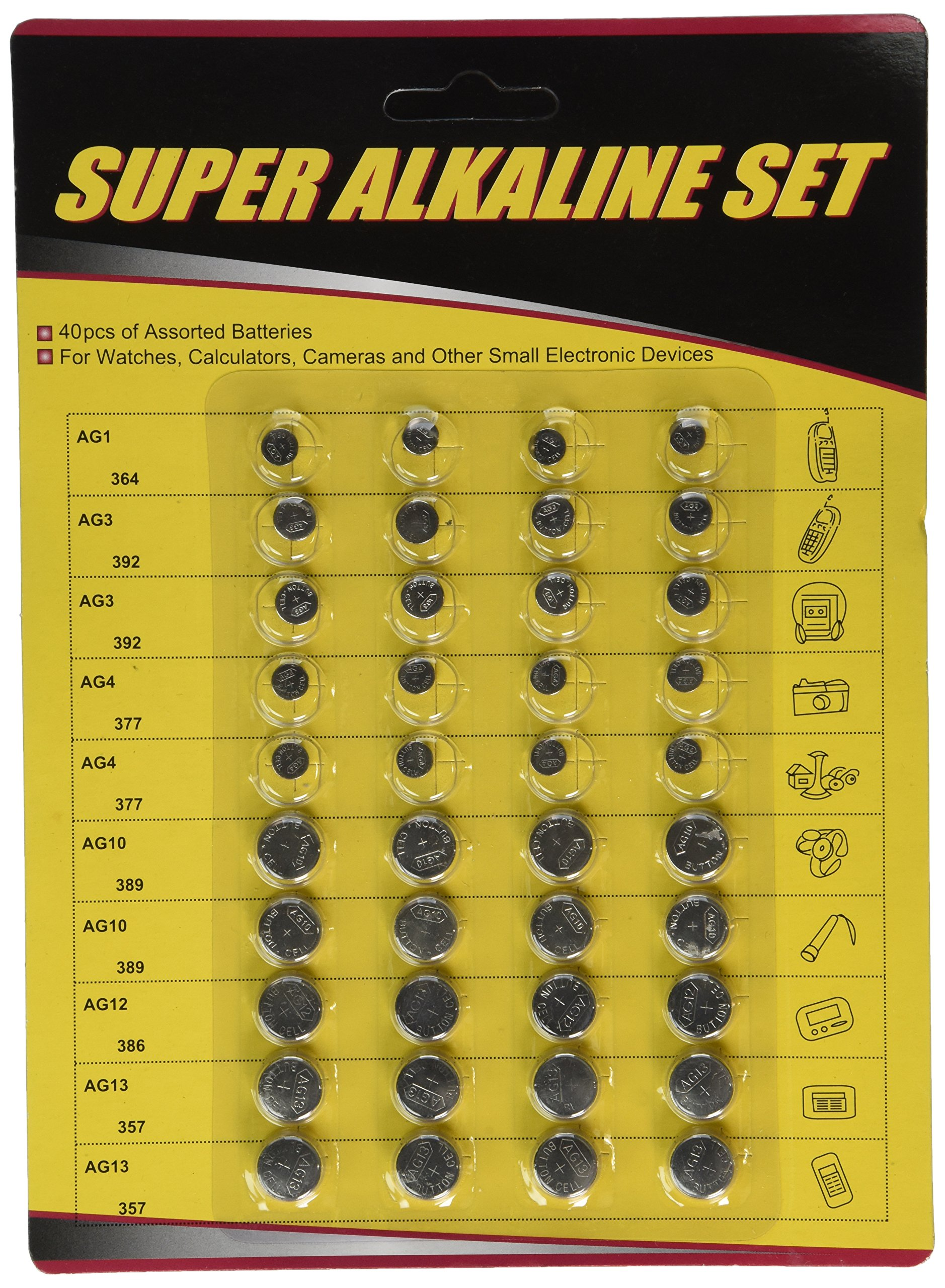 40-Pack High Power Assorted Button Cell Battery Kit