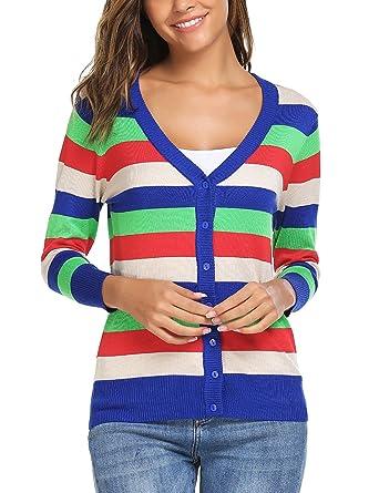 4382082ed7 Zeagoo Women Striped V-Neck Button Down Cardigan Sweater Pattern 3 S