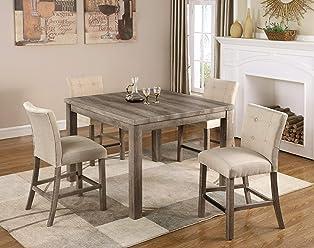 d2ce71a96c3f Best Master Furniture H700 Hadley 5pcs Counter Height Set Light Grey