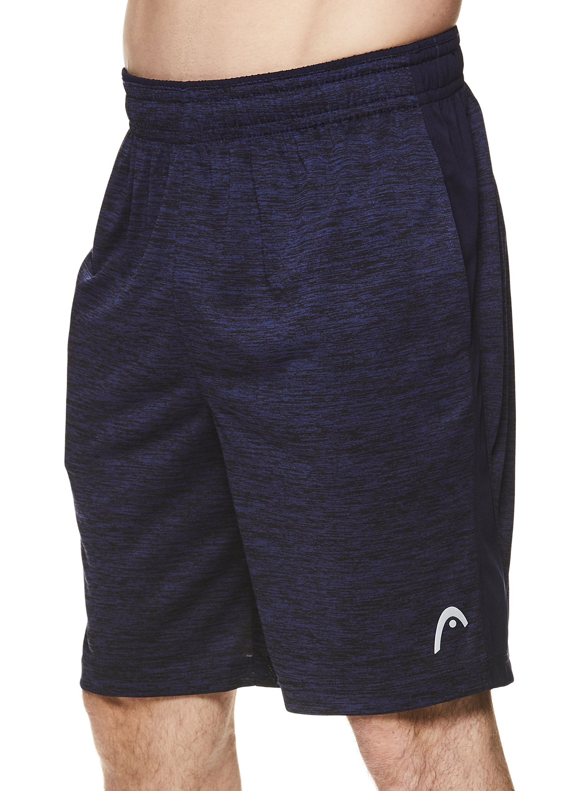 HEAD Men's Polyester Workout Gym & Running Shorts w/Elastic Waistband & Drawstring - Firestarter Navy Heather Blue, 2X