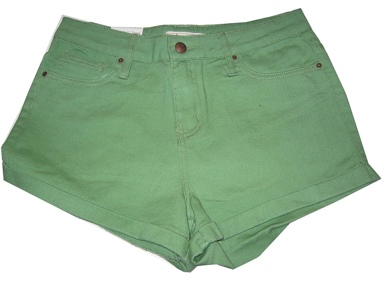 Adam Levine Women's Shorts 7/8 The Boyfriend Shorts Green 100% Cotton