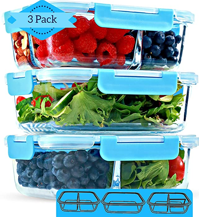 1 & 2 & 3 Compartment Glass Meal Prep Containers [3 Pack, 35 Oz] - Glass Lunch Containers, Food Storage Containers with Lids, Food Prep Containers, Glass Bento Box for Kids & Adults, Bento Lunch Box