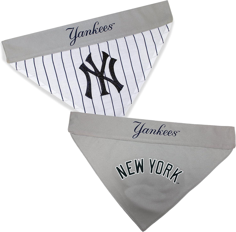 Pets First YAN-3217-L-XL MLB New York Yankees Reversible Pet Bandana MLB Team Color Large//X-Large
