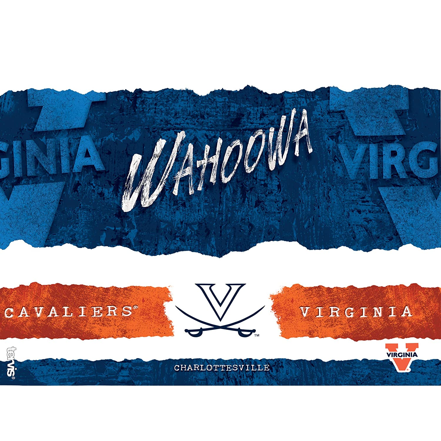 Tervis 1251553 Virginia Cavaliers College Statement Insulated Tumbler with Wrap and Orange Lid 16oz Clear