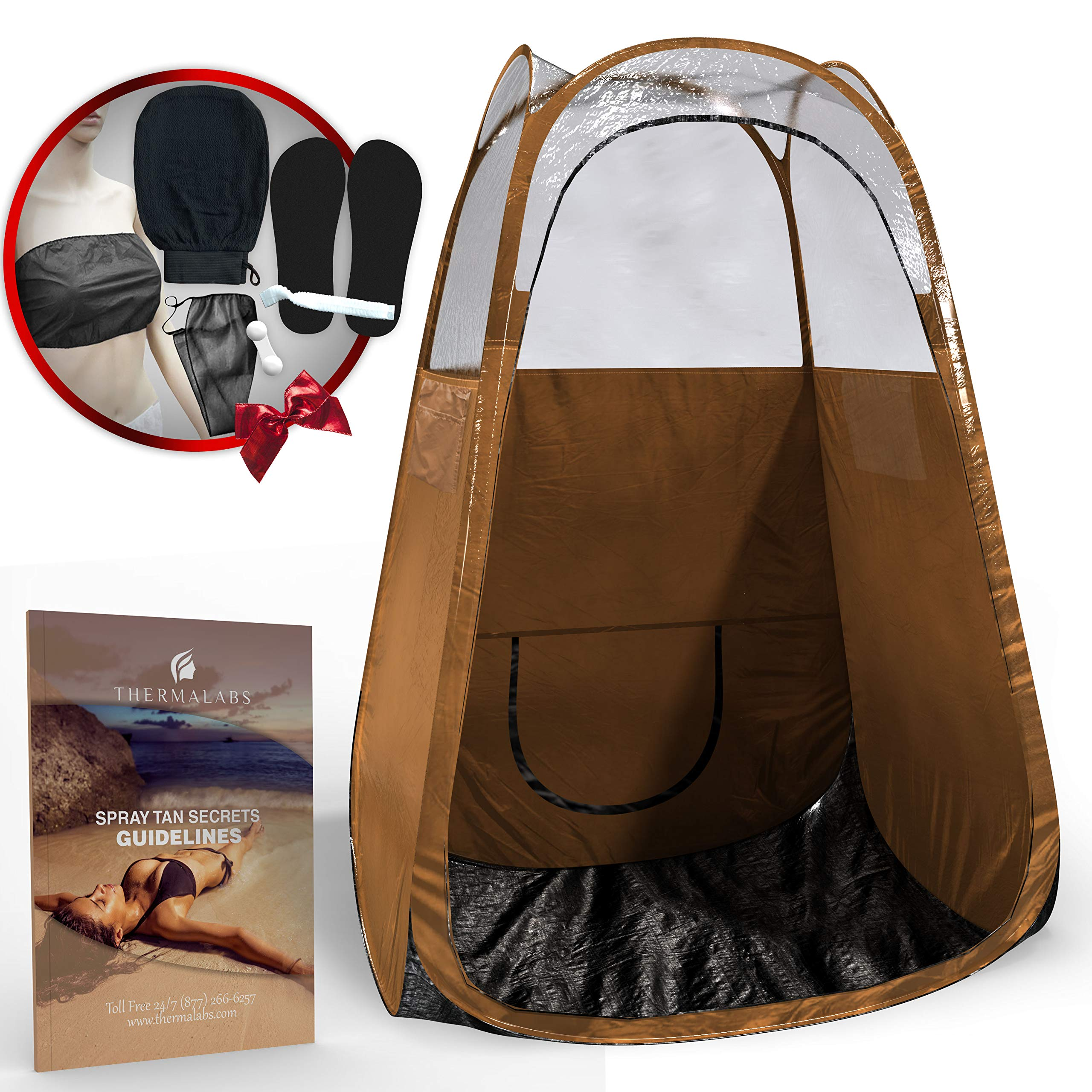 Spray Tan Tent (Bronze) The Best, Bigger Than Others, Folds Easily in 30 Seconds and Has NO Logo On Tent Itself! Professional Sunless Tanning Pop-Up Spraying Booth for Airbrush Art, Makeup & Painting
