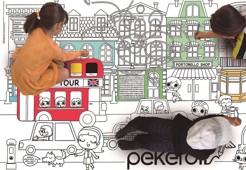 Pekëroll Póster gigante para colorear y aprender Inglés: Amazon.es: Juguetes y juegos