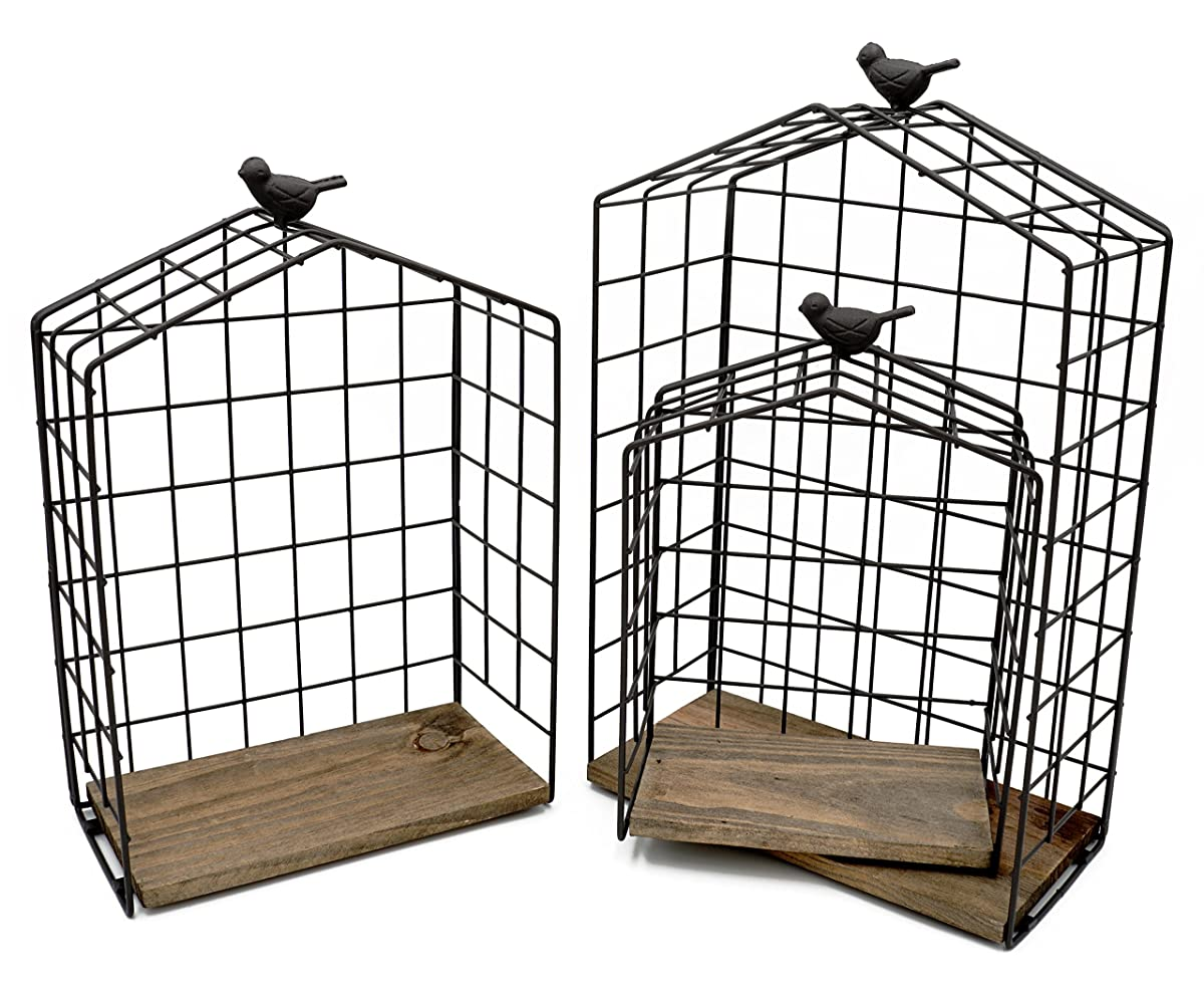 Set of 3 House Shaped Metal Wire Hanging Shelves with Natural Wood Accent