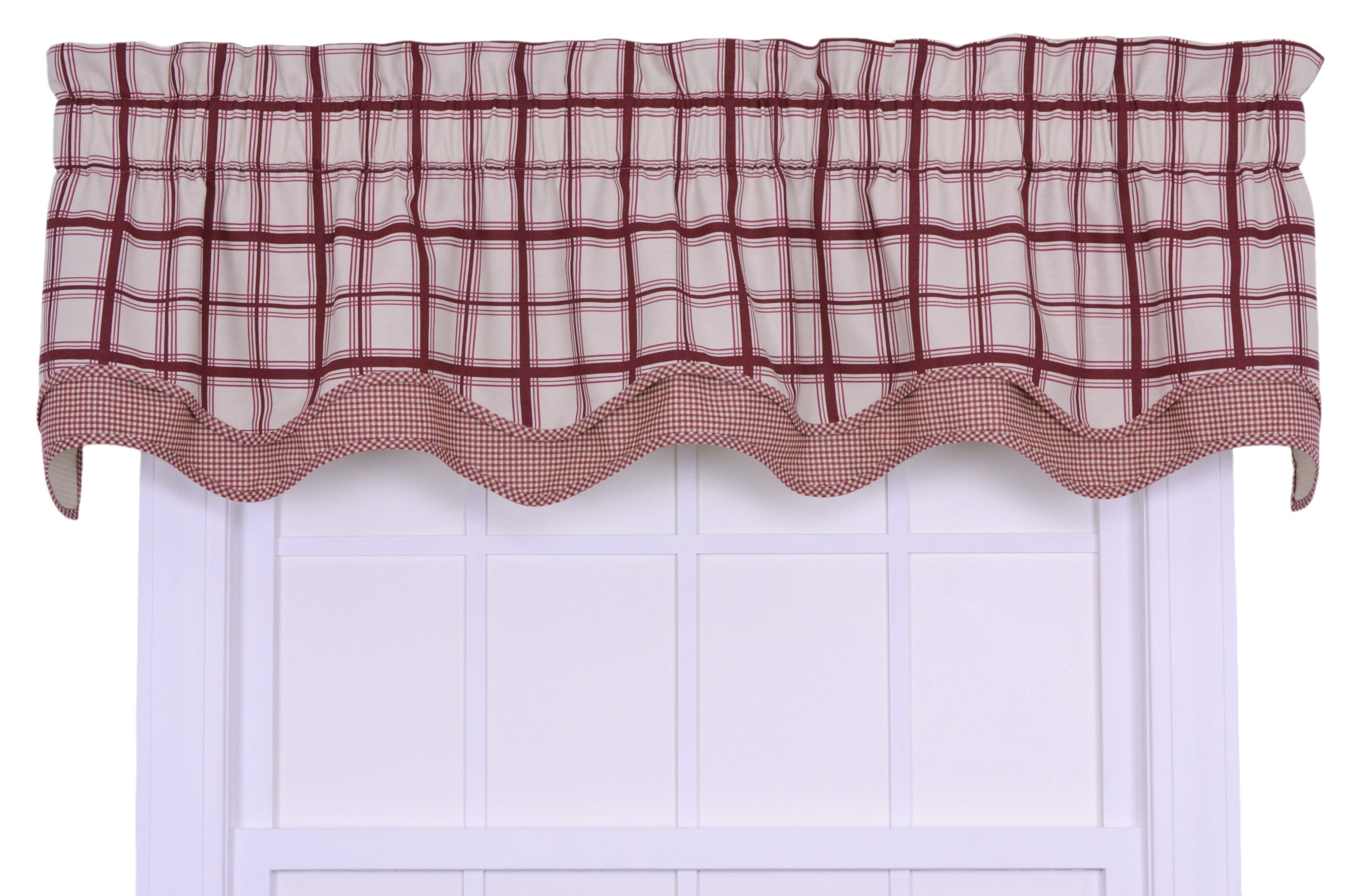 Logan Large Scale Plaid Bradford Valence Window Curtain, Red - 100-Percent cotton duck fabric for smoother draping effect Constructed with a decorative 3-inch rod pocket; Accented by a coordinating gingham check print and bias binding bottom layer Large scale 5-inch Monochromatic plaid pattern creates a classic, warm and inviting feel to any room - living-room-soft-furnishings, living-room, draperies-curtains-shades - 91sc4vpC9wL -