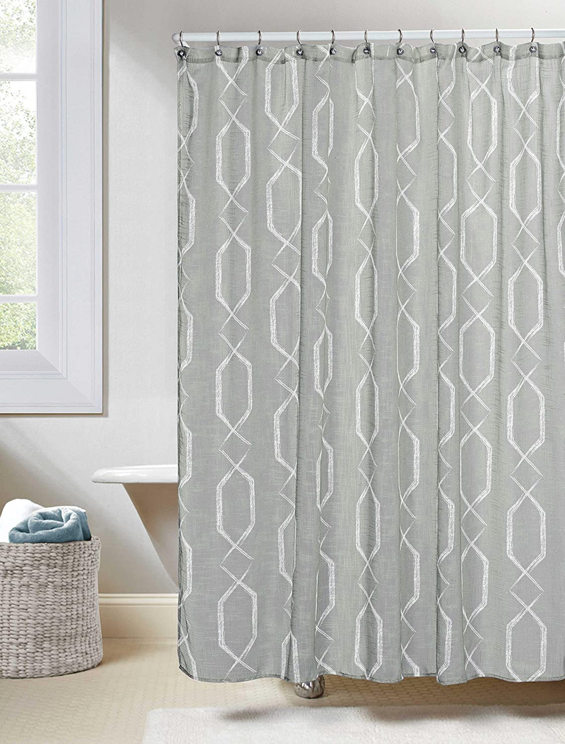 Amazon Gray Linen Textured Sheer Fabric Shower Curtain White Geometric Design 70W X 72L Home Kitchen