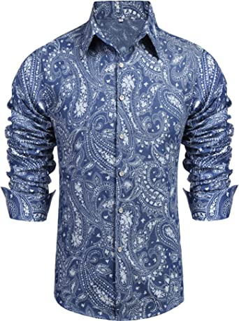Men/'s Paisley Printed Shirt Slim Fit Premium Cotton Long Sleeve Green Navy Blue