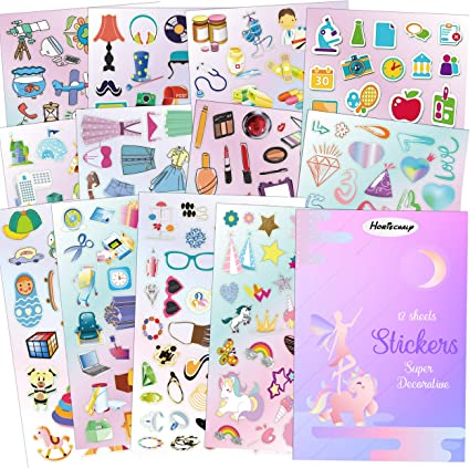 HORIECHALY Stickers Daily Stickers Collection for Grils, Children, Parents, Teachers Stickers, 12 Sheets Including Unicorn, Toys, Cosmetics, Buildings, Tools, Stationery etc