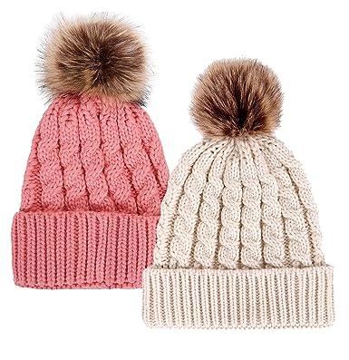 a3de6868051 Simplicity Women Knit Crochet Beanie Pom Hat Earmuff Cap Snowflake Print Hat