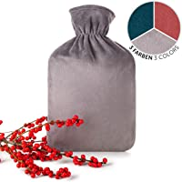 Blumtal Wärmflasche mit weichem Bezug - 1,8L Wärmeflasche, Bettflasche, Wärmflasche Kinder, grau