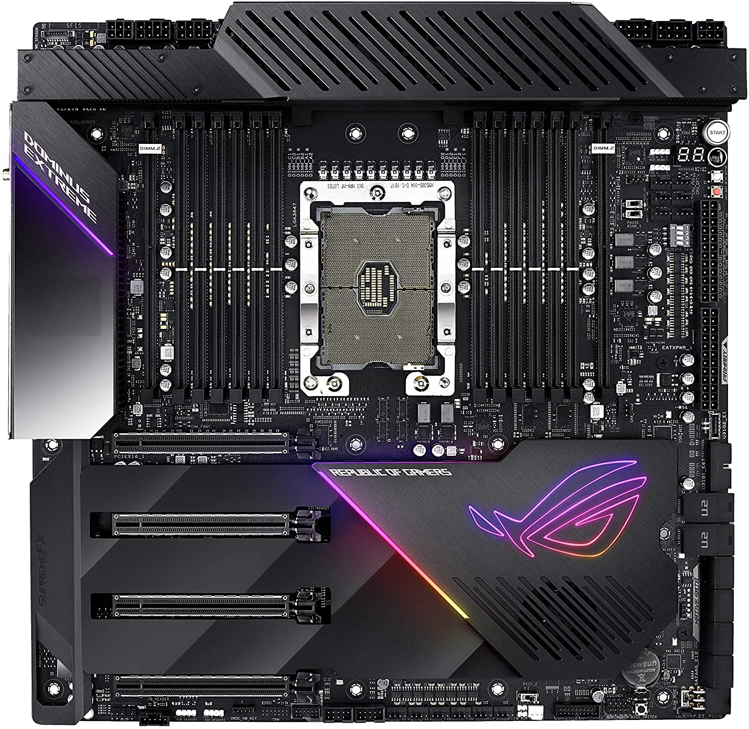 ASUS ROG Dominus Extreme Intel LGA 3647 for Xeon W-3175X (C621) 12 DIMM DDR4 M.2 U.2 EEB Performance Motherboard with Aquantia 10G LAN, USB 3.1