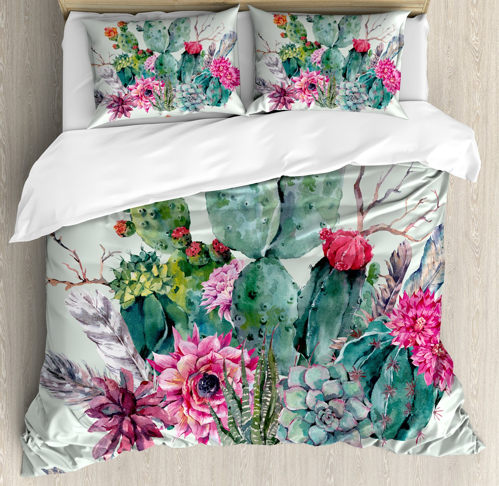 Cactus Decor Duvet Cover Set Queen Size by Ambesonne, Spring Garden with Boho Style Bouquet of Thorny Plants Blooms Arrows Feathers, Decorative 3 Piece Bedding Set with 2 Pillow Shams, Multicolor
